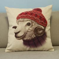 "Beige Cartoon Lovely Animals Sheep Cotton Blend Linen Pillow Case Decor Cushion Cover Square 18"""