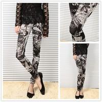 Free shipping !!! New Newspaper Beauty Car Print Stretch Tight Pant Fashion Women Lady Y98