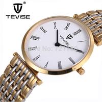 Sapphire Mirror 50M Waterproof Luxury Brand Watch Men Full Steel Slim Quartz Watch Gold Men Wristwatch TEVISE Tag Sports Watches