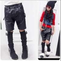 2014 New Children'S Special Offer On Sale Retail Baby Girls Spring Autumn Cool Leather Middle Pants Kids Fashion PU Pants