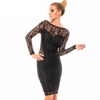 Autumn European American Delicate Lace Dress Package Hip Fashion Long Sleeve Slim Fit Dresses Delicate Sexy Backless Midi Dress