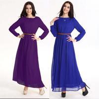 Dubai-style Arab Muslim women long dresses 2014 Fashion ultra long paragraph one-piece dress o-neck chiffon one piece maxi dress