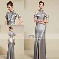 30808 top quality design Beaded Silver Halter Floor Length Evening Dress elegant Dress 1pc+free shipping