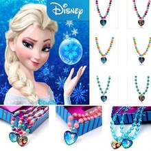 Fashion Frozen Fashion Jewelry Necklace Charm Beads Chain Frozen Elsa Anna Kid Heart Pendant Xmas Gift
