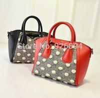 New sweet bow wave point stitching woolen elegant fashion PU lady handbag shoulder bag popular messenger bag bat bag 3 colors