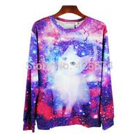 2015 New Lovely Animal Cat printed Autumn sweater Women men sweater sueter sportsuit hoodie Men hoody sweatshirt pullover  W192