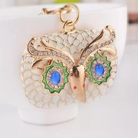 OWL rhinestone Keychain alloy car key ring pendant creative Korea key rings customized commodity