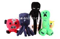Free Shipping 7Piece/lot Minecraft Toys Kids Boys&Girls JJ Game Plush Toys Doll Creeper Enderman Pig Mooshroom Christmas Gift