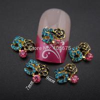 50pcs  glitter nail decoration strass rhinestones black flowers nail designs jewelry for scrapbooking phone decoations MNS774