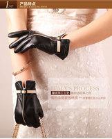 winter black and white buckle brand designer women  sheepskin leather gloves lady motorcycle gloves