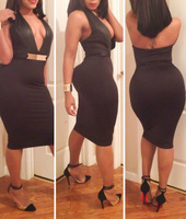 New Sexy Party Dress Black V -Neck Halterneck Night Club Plus Size M L XL Free Shipping B4900 Eshow
