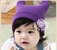 2014 new children  fine wool horn hat Baby winter hats Earmuffs knitting hat, children cap Boys and girls general cap