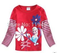 2014 Girl t-shirt autumn new red Striped Christmas frozen t-shirt elsa anna princess cartoon casual for baby girl free shipping