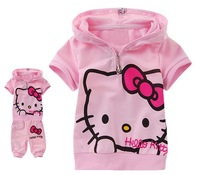 Retail free shipping 2015 summer hello kitty children girls short sleeve t-shirts+ short pants 2cps baby clothing set in stock