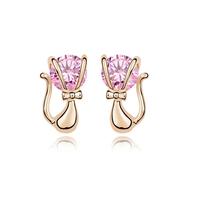 new brand design fashion woman Bestsellers 18K gold earrings CZ earrings sweet gentleman cat 95079