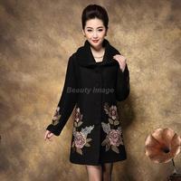 New Peony Embroidery Wool Coat Jacket Korea Women's Coats 2014 Clothing Winter Coat Women Casacos Femininos