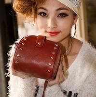 2014 vintage rivets mobile phone camera coin purse small bag women's handbag day clutch bag messenger bag