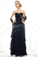 Free Shipping Strapless Sheath A-line Floor Length Chiffon Black Beaded Mother of the Bride Dresses with Shawl