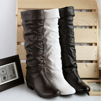 Winter Autumn Low-heeled Ladies Sexy Botas Large Size Black/Brown/White Women Casual Shoes PU Leather Flat Knee High Boots