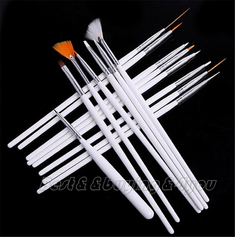 Free Shipping 15x Nail Art Acrylic UV Gel Design Brush Set Painting Pen Tips Tools Kit (30409001_White)(China (Mainland))