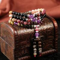 Multicolor 6 mm natural tourmaline beads bracelet 108 recite the rosary prayer beads bracelet Tibetan Buddhist meditation