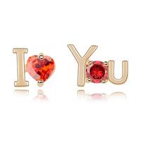 new brand design fashion woman Bestsellers 18K gold earrings OL I Love You Heart CZ Earrings 94664