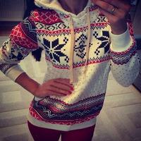 FreeShipping Autumn Winter Women Xmas Snowflake Sweatshirt Hoodies Top Sweats Fleece Pullover