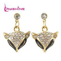 2014 New Fashion Jewelry Bijoux Fox Shape Black  Drop Earring Rhinestone Brincos Vintage For Women