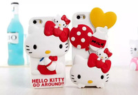 2014 Newest Arrival Lovely Cute Hello Kitty Silicone 3D Case for IPhone 6 with bowknot Soft Cover for iphone6 cell phone case