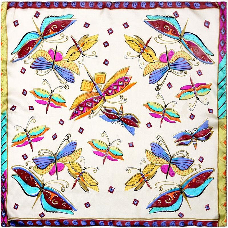 Guarantee 100 Silk Scarf Women Scarf Butterfly Print Mini Square Silk Scarf Animal 50cm Fashion 2015