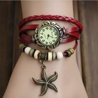7 Color 100% GENUINE Leather Hand Knit Women Vintage Watches,bracelet Wristwatches Starfish Pendant Quartz Watch,Free Shipping