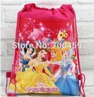 Free shipping 60 pcs princess New Pattern Cartoon Printing Drawstring Backpack Kids School Shoulder Bag Shopping Bag