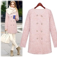 European Grand Prix 2014 Winter New Long-sleeved Round Neck Lace Embroidery Long Coat Women Beautiful Sweat Floral Coat