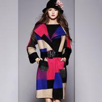 2014 Autumn and Winter New European Style Big Temperament Plaid Wool Coat Fashion Elegant Woolen Coat For Winter
