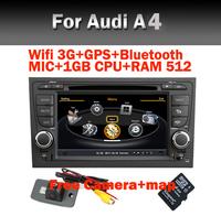 Wifi 3G Car DVD GPS Player for Audi A4 with Wifi 3G GPS Bluetooth Radio TV USB IPOD PIP Steering Wheel control  Free Camera+Map