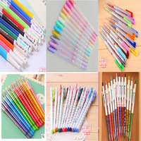 12 Pcs/Lot (8 Styles)Colorful Gel Pen DIY Cute Stationery Albums Gift material escolar Highlighter Pens School Supplies
