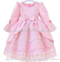 205 new Girls lace Dress Princess dress children's wear Party bow girl wedding flower Baby court girls tutu dress pink white