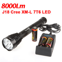 TrustFire J18 Cree XM-L T6 8000LM 7 Bulbs LED Torch+3*26650 Batteries+Charger Flashlights Torch Support Dropship