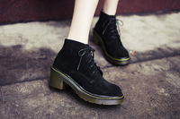 2014 women winter snow anke genuine leather boots platform shoes woman ankle boots Black Pink Gray lace up booties riding boot