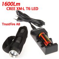 TrustFire A8 1600Lm CREE XM-L T6 LED Flashlight Torch + Holster + 26650 Battery Flashlights Torch