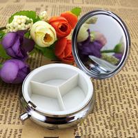 100pcs Metal Pill boxes DIY Medicine Organizer container silver-Free Shipping