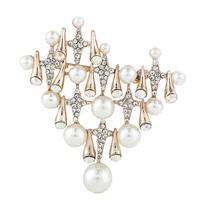 2015 New Fashion Women Elegant Heart Pearl Wedding Bouquet Brooches,Free shipping