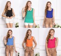 New 2014 Woman Brand Top Basic Female Chiffon Sleevelss Shirt Blouse Blusas Femininas Tank Tops