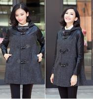 2014 Plus Size Thick Winter Wool Coat Women Plus Size Long Trench Korean Hoody Woollen Coat Blend Overcoat Horn Button