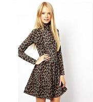 New Winter Women Brand Casual Turtleneck Long Sleeve A-Line Casual Wedding Dress Slim Sexy Leopard Party Evening Vestidos q308