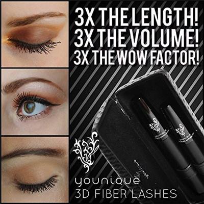 Nouveau 2014 2pcs/set younique 3d fibre ensemble de maquillage mascara cils cils cils volumisant allongement étanche. maquillage naturel