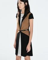 New Women ZA Brand V Neck Short Sleeve Patchwork Unreal Two-piece Sashes Wedding Dress Slim Breif Party Evening Vestidos q311