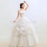 2014 wholesale new white sexy off Shoulder bridal veil wedding dresses princess slim wedding gown