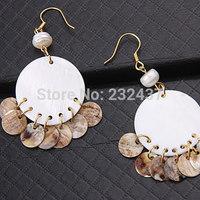 Free shipping!!!Freshwater Shell Drop Earring,Bulk Jewelry, brass earring hook, Flat Round, white, nickel, lead & cadmium free