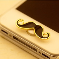 Funny - Home Button Stickers  Curly Mustache For iPhone 4/4S 5 5C Black White